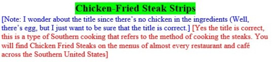 Editingchickenfried steak