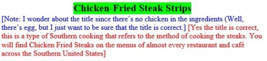 Editingchickenfried steak